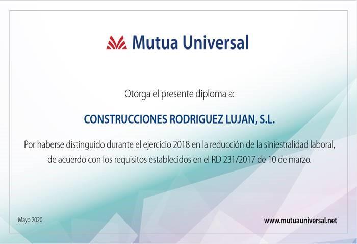 Diploma Bonus 2018 GEV Rodriguez Lujan S.L.